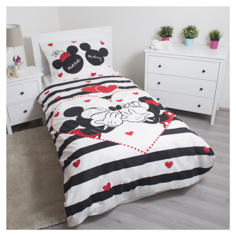 Jerry Fabrics bavlna povlečení Mickey a Minnie ? Disney - pruhy 140x200 70x90