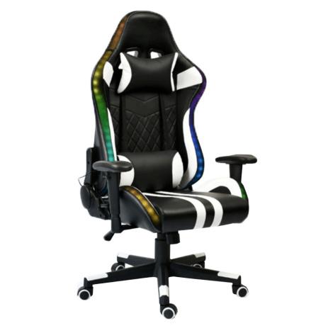 Kancelářské / herní křeslo s RGB podsvícením, černá / bílá / barevný vzor, ZOPA