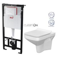 ALCAPLAST Sádromodul předstěnový instalační systém bez tlačítka + WC CERSANIT CLEANON COMO + SED