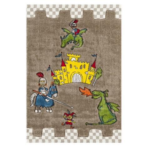 Dětský kusový koberec Momo K11563-05   hnědý Typ: kulatý 133 cm