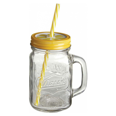 Sklenice se žlutým víčkem a brčkem Premier Housewares, 450 ml
