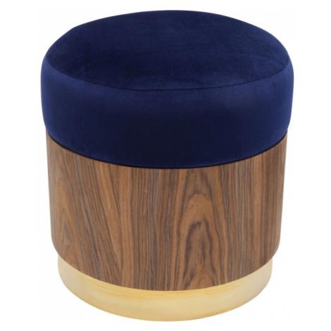 Modrá čalouněná stolička Lilly - sokl dřevo Kare Design