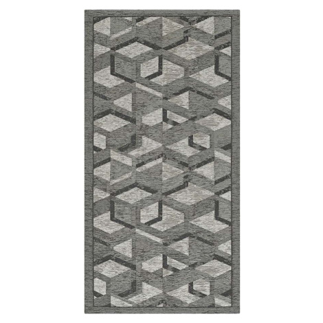 Šedo-černý běhoun Floorita Hypnotik, 55 x 140 cm