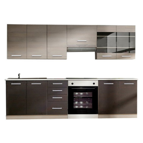 Kuchyňská linka 240 cm v kombinaci dub světle šedý a tmavý TK3304 Tempo Kondela