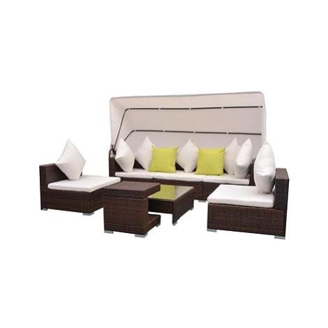 7dílná zahradní sedací souprava se stříškou polyratan hnědá 42749 42749 SHUMEE