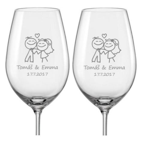 Svatební skleničky na víno Šťastní novomanželé, 2 ks