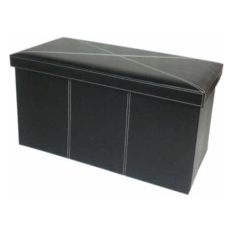 Skládací lavice, černá ekokůže, MOLY 0000105579 Tempo Kondela