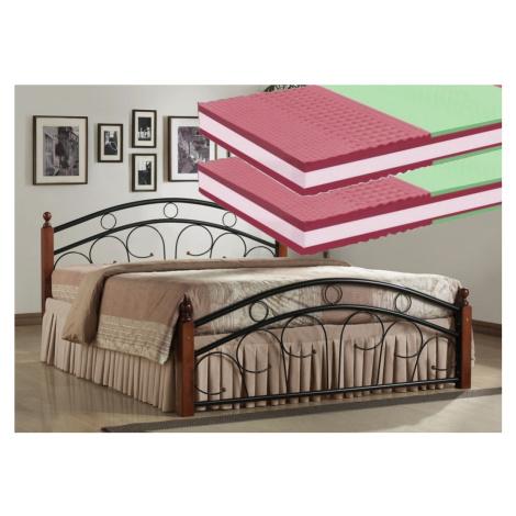 Manželská postel 180x200 cm v dekoru antická třešeň s roštem a matracemi KN440 Casarredo
