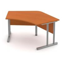 Stůl pracovní vykrojený - hnízdo - kovová podnož Šedá bez výplně, Záda-dekor desky