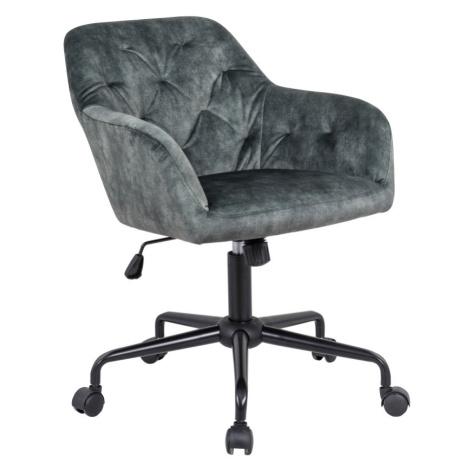 LuxD Designová kancelářská židle Kiara zelený samet