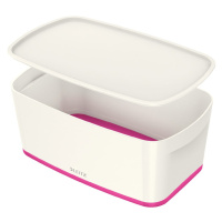 Bílo-růžový úložný box s víkem Leitz Office, objem 5 l