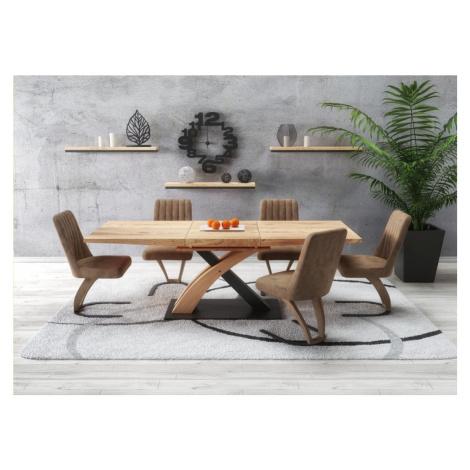 Jídelní stůl SANDOR 3 rozkládací 160/220 dub zlatý / černá Halmar