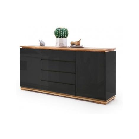 Komoda chalco (2x dveře, 4 zásuvka, černá, dub) MC AKCENT