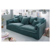 LuxD 23960 Designová sedačka Eden 210 cm petrol zelená / samet