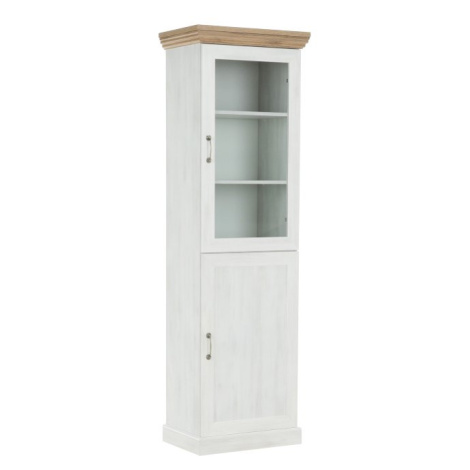 Vitrína dvoudveřová s prosklenými dveřmi nordická bílá borovice ROYAL W1D Tempo Kondela
