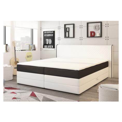 Manželská postel 180x200 cm v bílé a černé barvě s matracemi a úložným prostorem KN730 Casarredo