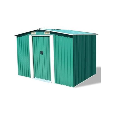 Zahradní domek na nářadí zelený kovový 257x205x178 cm SHUMEE
