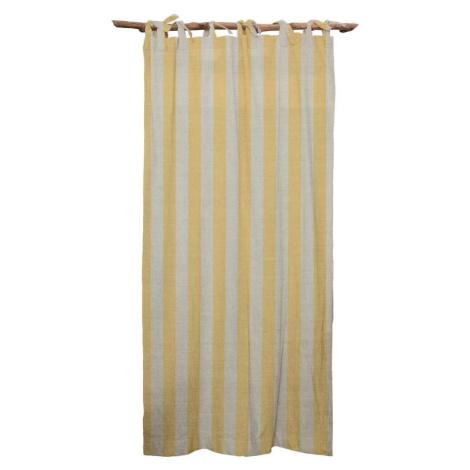 Žlutý závěs Linen Cuture Cortina Hogar Yellow Stripes Linen Couture