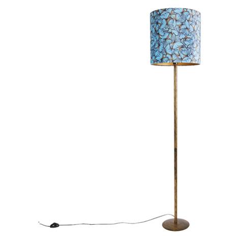 Botanická stojací lampa zlatá s motivem motýla 40 cm - Simplo QAZQA