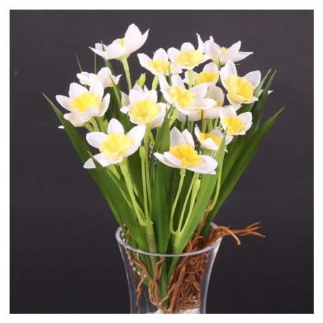 Narcis NADINE trs umělý s kořeny žluto-bílý 18cm Nova Nature