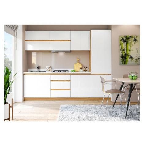 Kuchyňská linka Magnolia s pracovní deskou 260 cm, bílá/ dub wotan BAUMAX