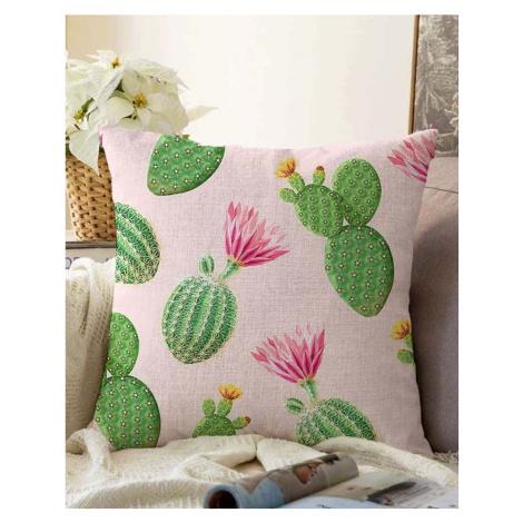 Růžovo-zelený povlak na polštář s příměsí bavlny Minimalist Cushion Covers Blooming Cactus, 55 x