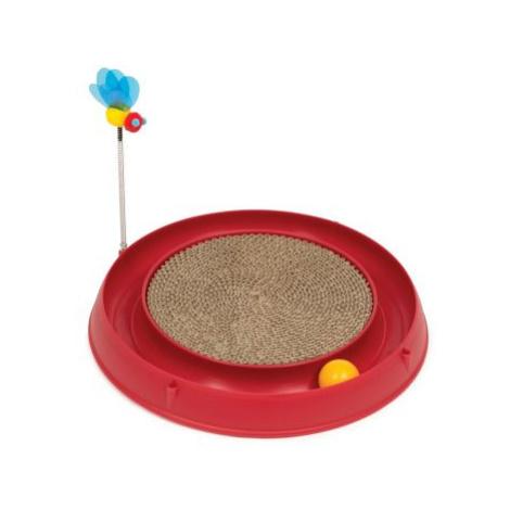 Catit Play-N-Scratch – 3 in 1 hračka pro kočky se škrabadlem - Ø cca 36 cm x V 25 cm (červená)
