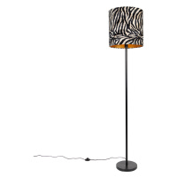 Moderne vloerlamp zwart met kap zebra dessin 40 cm - Simplo