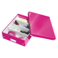 Růžový box s organizérem Leitz Office, délka 37 cm