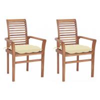 Zahradní jídelní židle s poduškou 2 ks teak Dekorhome Antracit