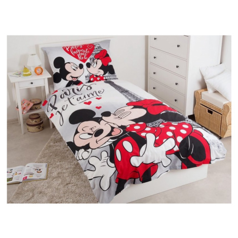 JERRY FABRICS Povlečení Mickey a Minnie Paříž Eiffelova věž 140x200 70x90