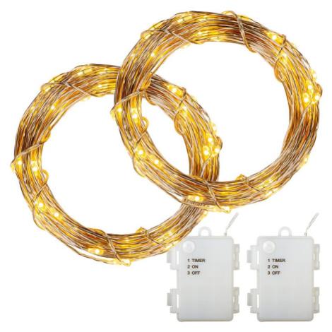 VOLTRONIC® Sada 2 kusů světelných drátů - 200 LED, teplá bílá