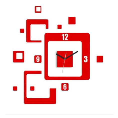 Mazur 3D nalepovací hodiny Trio Quadrat červené