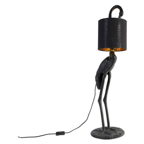 Vintage stojací lampa černá s látkovým odstínem černá - Crane bird QAZQA