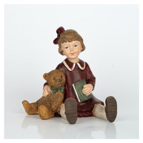 Vánoční dekorace děvčátko s medvídkem NOVAline