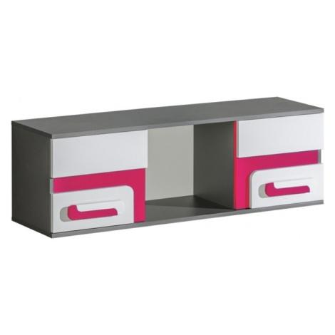 Závěsná skříňka APETTITA 10, antracit/růžová