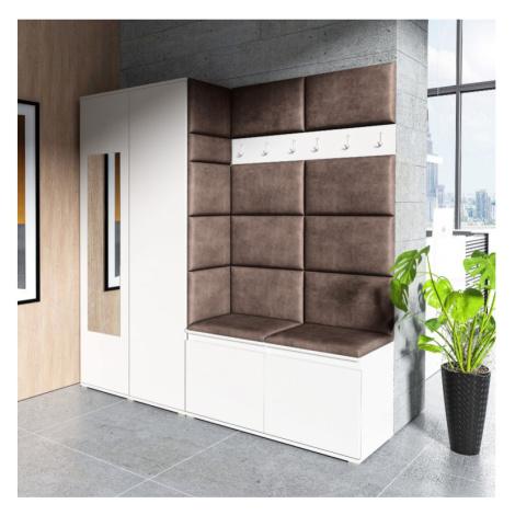 Eka Předsíňová stěna s čalouněnými panely Trinity 8 - Bílá / Tmavá hnědá 2308