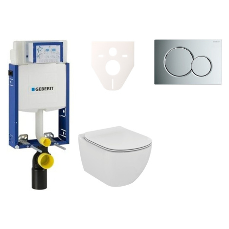 Závěsný set WC Ideal Standard Tesi + modul Geberit Kombifix s tlačítkem Sigma 01 chrom 110.302.0