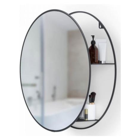 Kulaté nástěnné zrcadlo s policí Umbra Cirko   černé
