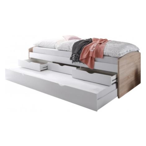 Sconto Postel s výsuvným lůžkem SENTIA dub sonoma/bílá, 90x200 cm