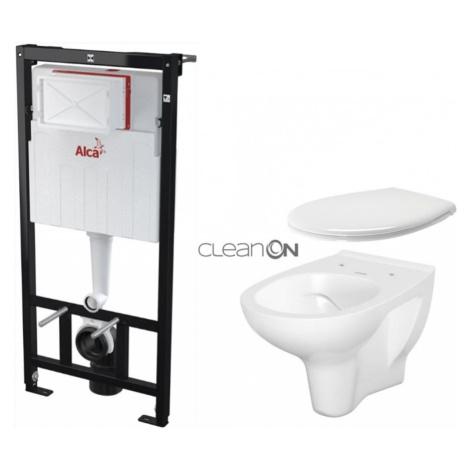 ALCAPLAST Sádromodul předstěnový instalační systém bez tlačítka + WC CERSANIT ARTECO CLEANON + S