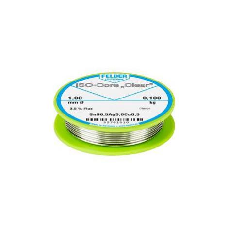 """Pájecí cín Felder Löttechnik ISO-Core """"Clear"""" SAC305, cívka, 0.100 kg, 1 mm"""