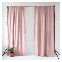 Světle růžový lněný závěs s tunýlkem Linen Tales Night Time, 250 x 140 cm