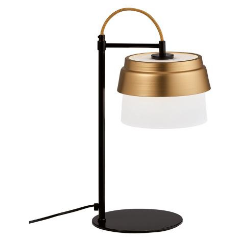 Viokef Morgan stolní lampa, skleněné stínidlo, bílo-zlaté