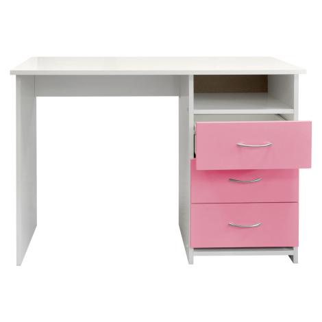 Psací stůl 44, bílá/růžová Smarshop