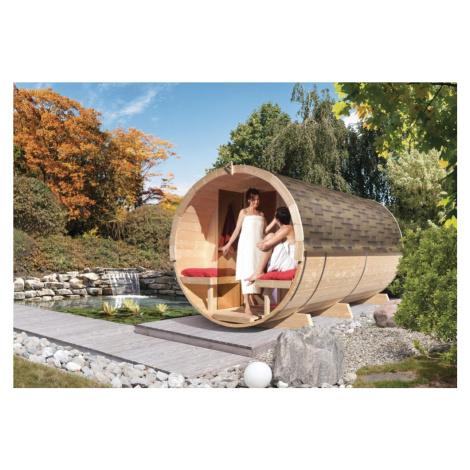 Venkovní finská sudová sauna 216 x 400 cm Dekorhome Lanitplast