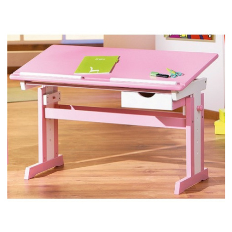 Psací stůl Cecilia, růžový/bílý ASKO - NÁBYTEK
