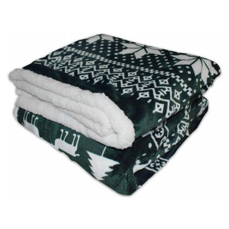 Homeville deka mikroplyš s beránkem Zimní motiv zelený