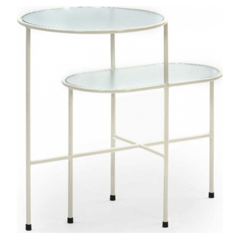 Krémově bílý odkládací stolek se skleněnou deskou Teulat Nix