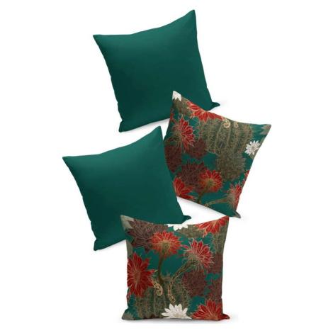 Sada 4 zeleno-červených povlaků na polštář Kate Louise Tropical, 45 x 45 cm